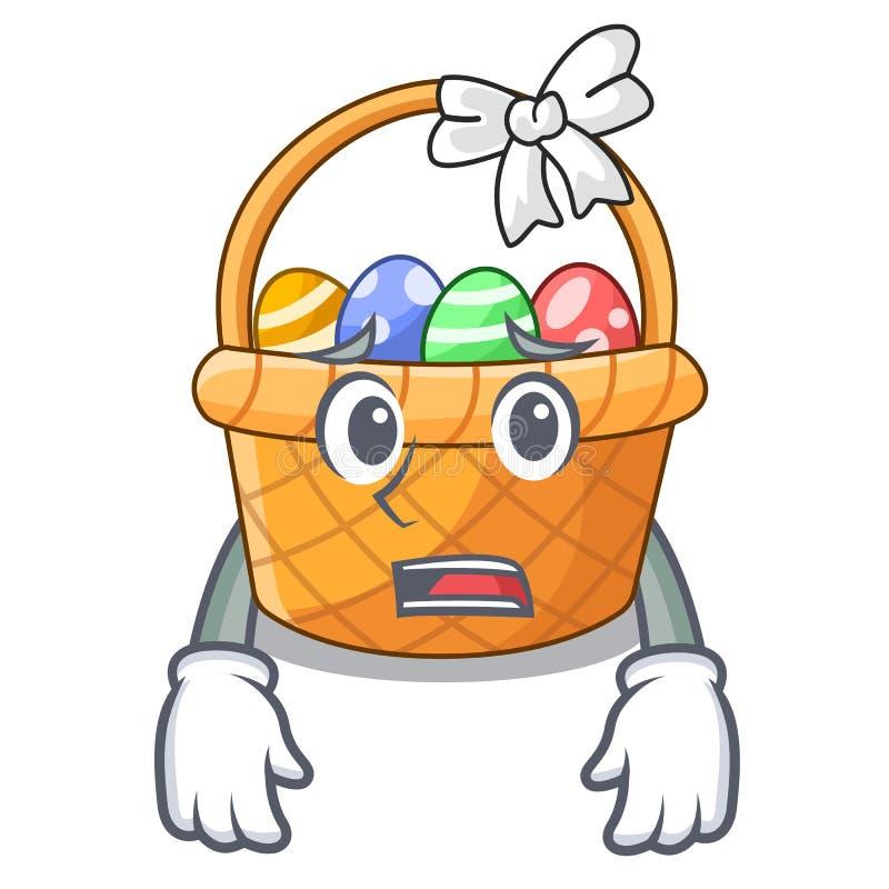 Przestraszona Easter kosza miniatura kształt maskotka ilustracja wektor