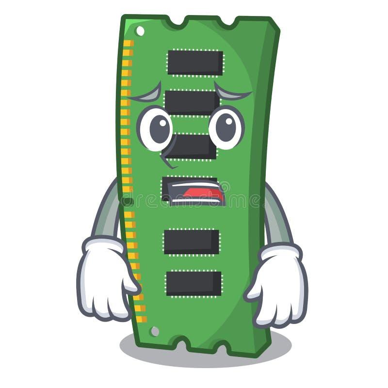 Przestraszona RAM karta pamięci w peceta charakterze ilustracji