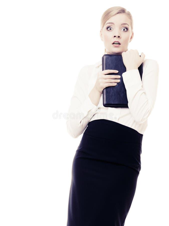 Przestraszonego bizneswomanu nieśmiała kobieta Stres w pracie zdjęcie stock