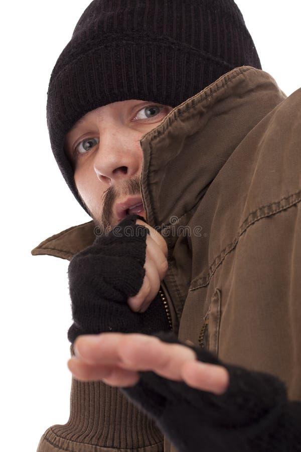 przestraszony bezdomny mężczyzna fotografia royalty free