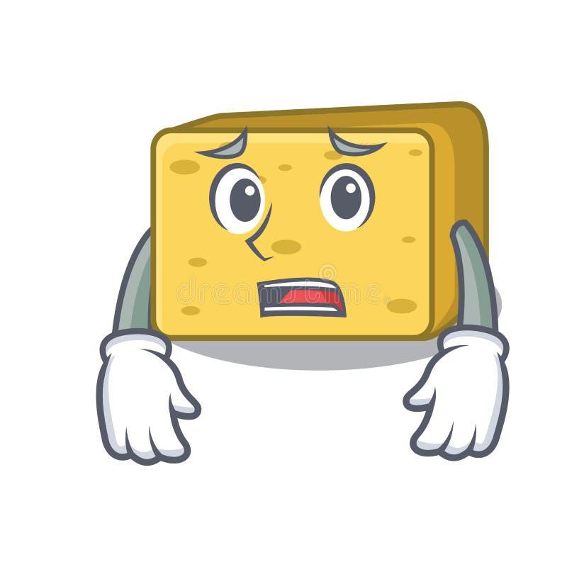 Przestraszony gouda ser składa kreskówkę royalty ilustracja
