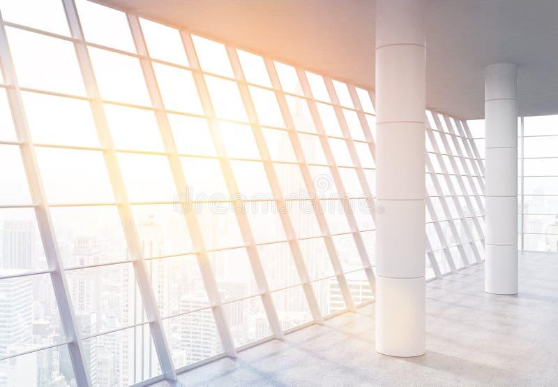 Przestronnego biura wnętrze z światłem słonecznym ilustracji