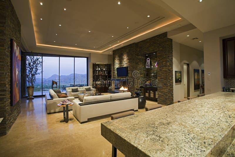 Przestronny Żywy pokój W domu obraz stock
