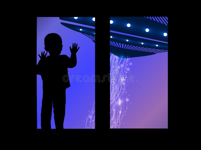 Przestrzeń i dziecko przyglądający out okno UFO ilustracji