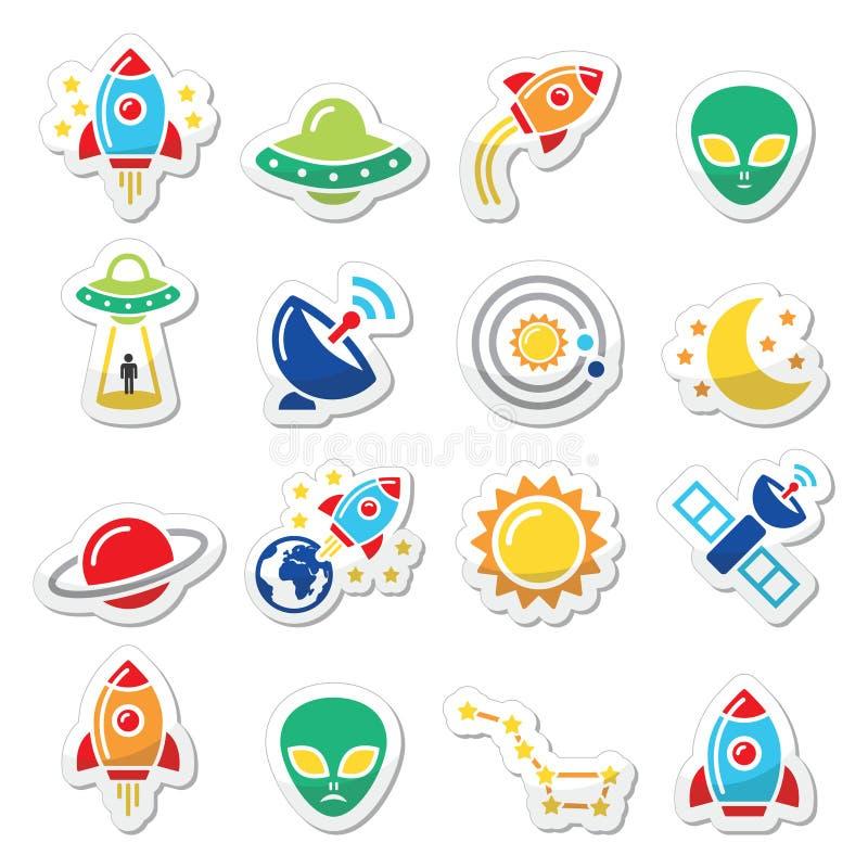 Download Przestrzeń I UFO Ikony Ustawiać Ilustracji - Ilustracja złożonej z inwazja, komarnica: 53785947