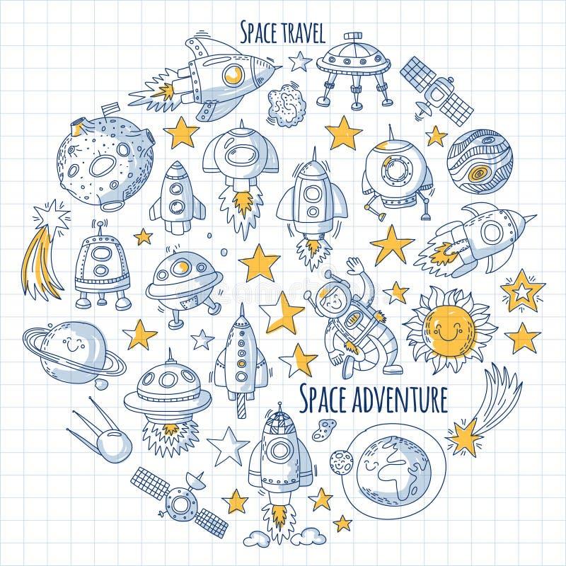 Przestrzeń, satelita, księżyc, gwiazdy, statek kosmiczny, staci kosmicznej przestrzeni doodle ręka rysujący wzory i ikony royalty ilustracja