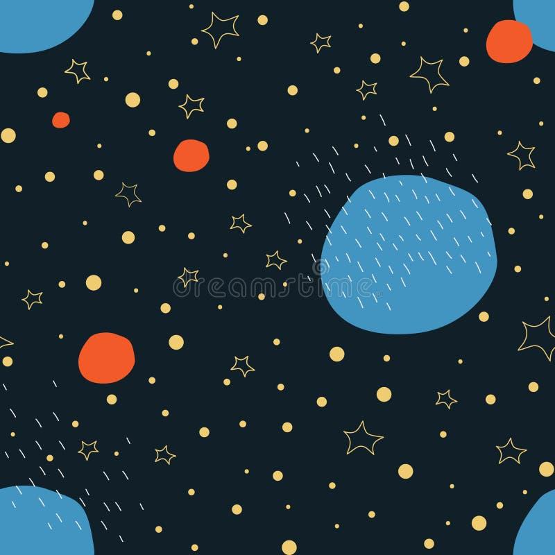 Przestrzeń z gwiazdami i planetami - bezszwowy wzór Ilustracja dla tapet, karty, sztandary, tkanina, druki ilustracja wektor