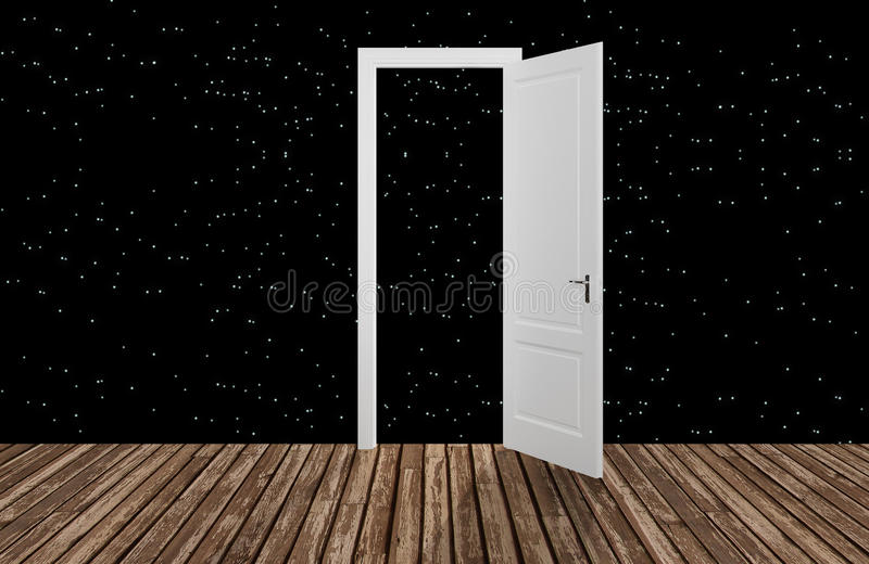Przestrzeń za otwarcia drzwi, 3D ilustracji