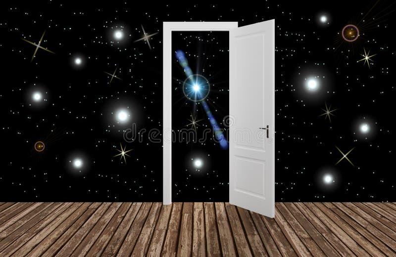 Przestrzeń za otwarcia drzwi, 3D royalty ilustracja