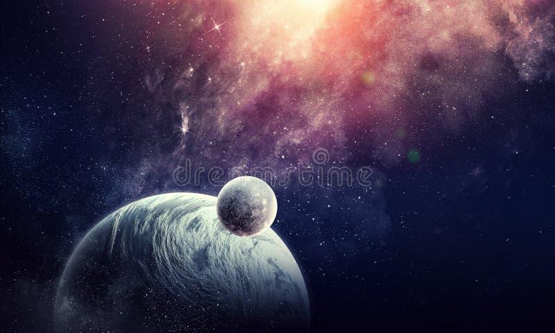 Przestrzeni mgławica i planety obrazy stock