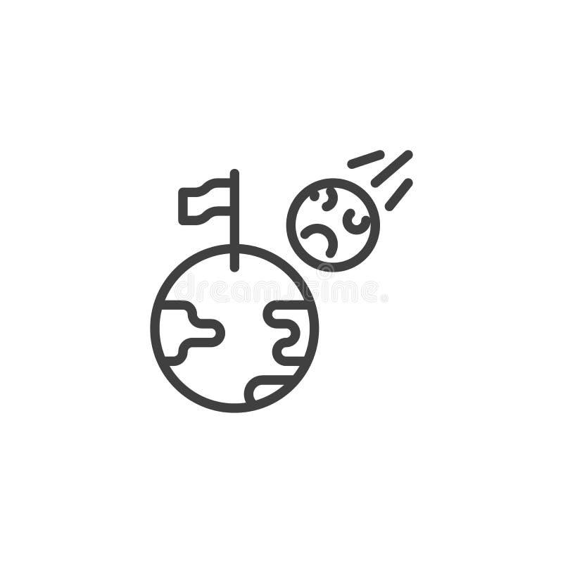 Przestrzeni planety z chorągwianej linii ikoną ilustracji