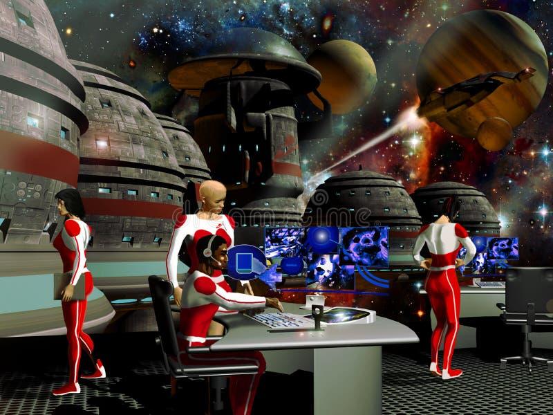 przestrzenna futurysta stacja royalty ilustracja