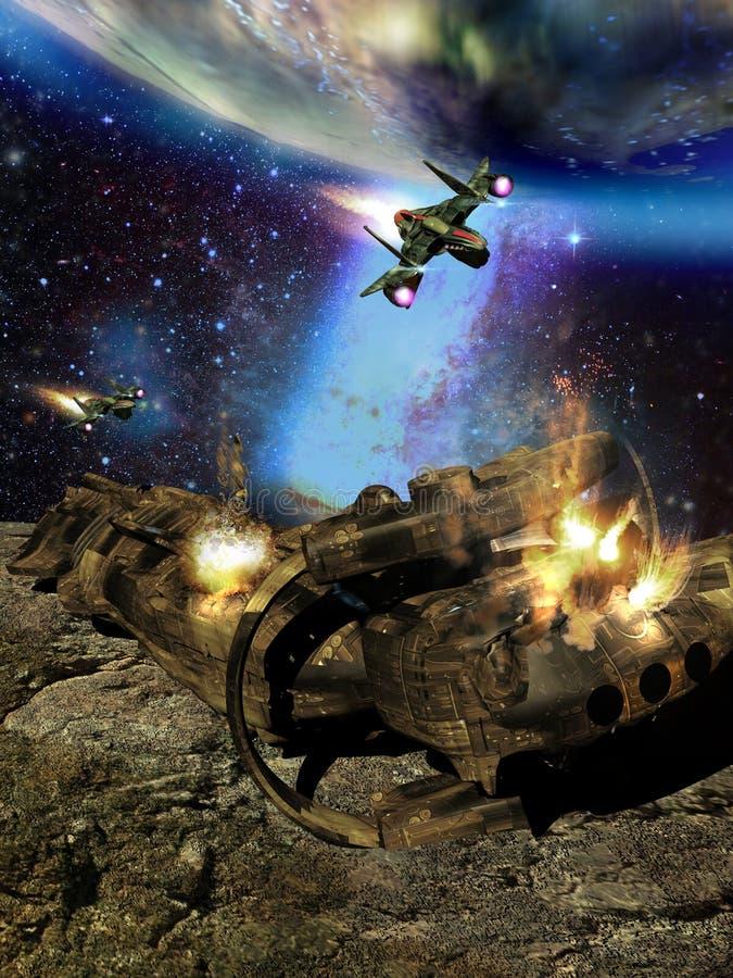Przestrzenny statku kosmicznego atak ilustracja wektor
