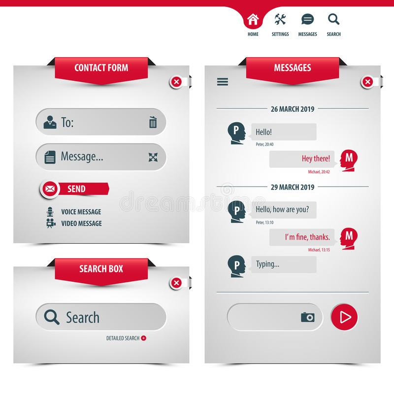 Przesyłanie wiadomości app szablon ilustracja wektor