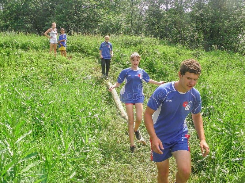 Przeszkoda kurs przy turystyki konwencją w Kaluga regionie Rosja obraz royalty free