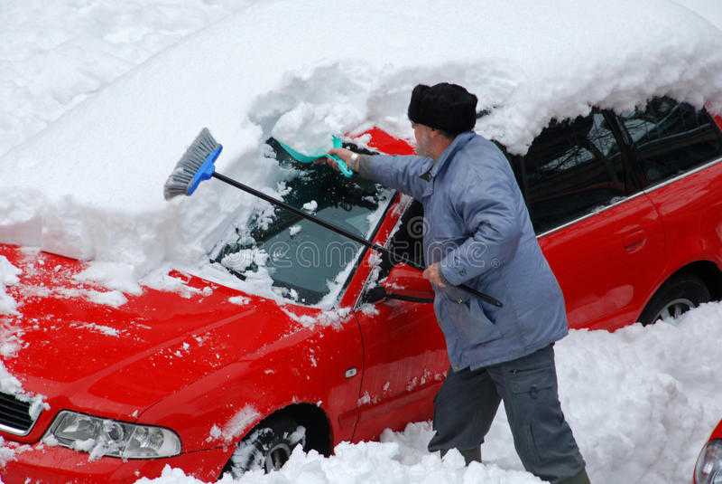 Śnieg w parking obrazy royalty free