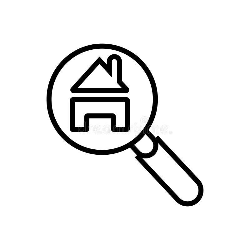 Przeszukanie domu ikony wektorowy wektor ilustracji