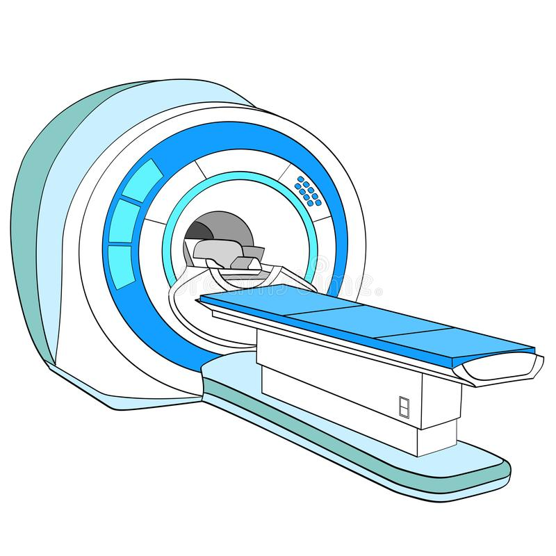 Przeszukiwacz komputeryzował tomografia przeszukiwacz, obrazowanie rezonansem magnetycznym maszyna, sprzęt medyczny Przedmiot na  royalty ilustracja