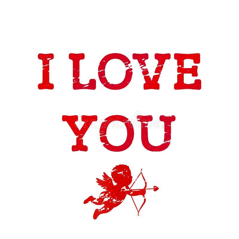 Przetarty czerwony literowanie kocham ciebie z amorkiem, łękiem i strzałą w, grunge i rocznika stylu Kartka z pozdrowieniami dla  ilustracja wektor