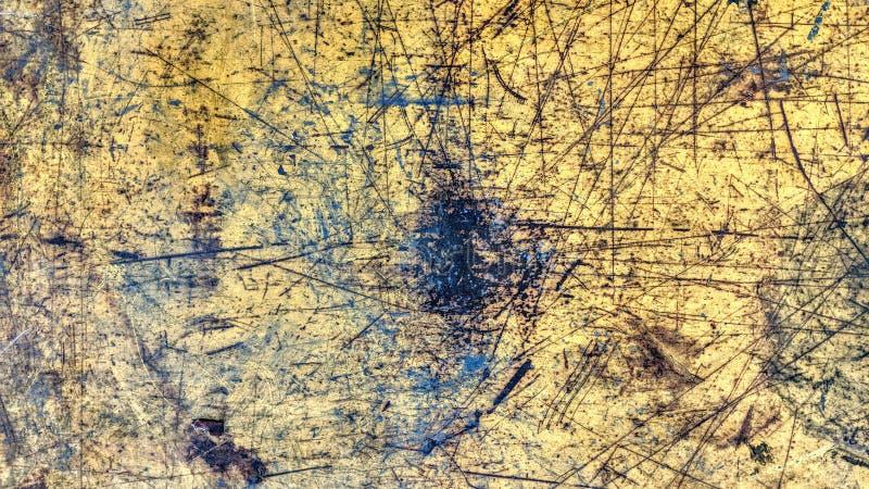 Przetarty stalowego talerza koloru żółtego stylu malujący grunge obraz stock