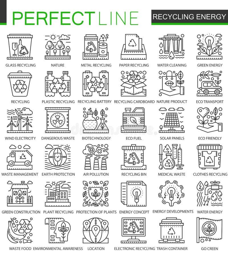 Przetwarzać energetycznego konturu pojęcia mini symbole Energia odnawialna, zielonego technologii nowożytnego uderzenia liniowy s ilustracji