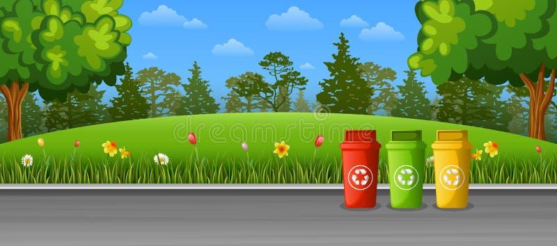 Przetwarzać kosz na śmieci na ulicie ilustracji