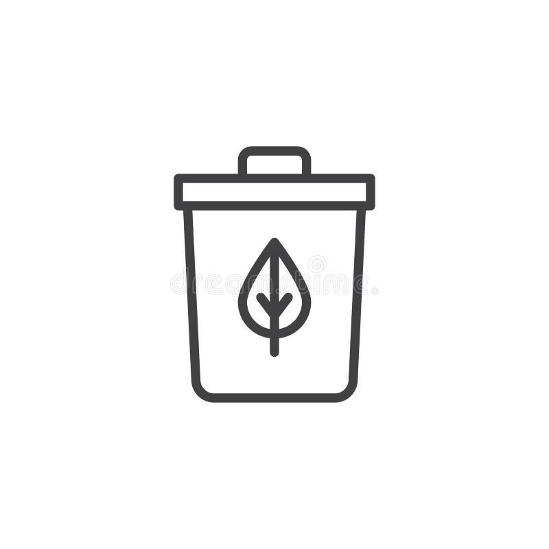 Przetwarzać kosz z liścia konturu ikoną royalty ilustracja