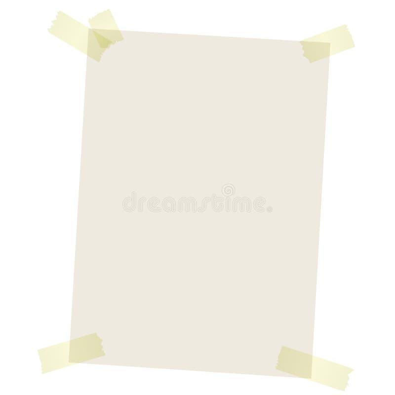 Przetwarzać papier z barwioną taśmą ilustracja wektor