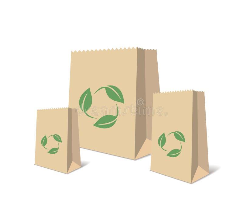 Przetwarzać Papierowe torby Ilustracja Przetwarzający Brown Robi zakupy Papierowe torby button ręce s push odizolowana początku i ilustracja wektor