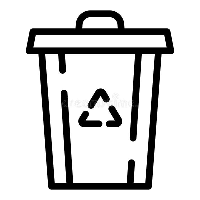 Przetwarza śmieciarskiego kosza ikonę, konturu styl royalty ilustracja