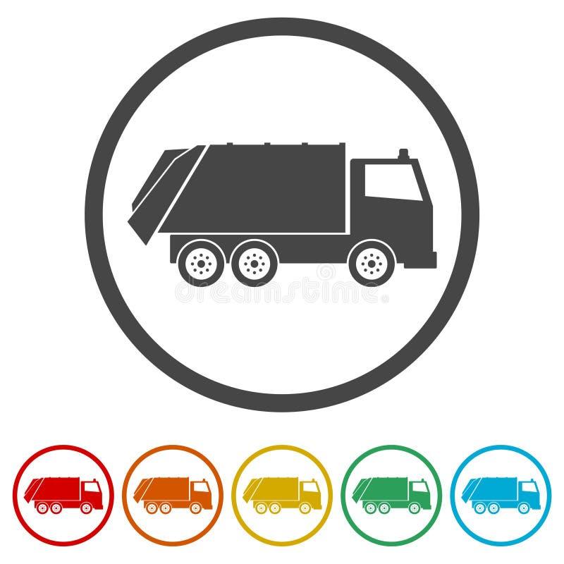 Przetwarza ciężarową ikonę, Śmieciarska ciężarówka, 6 kolorów Zawierać ilustracji