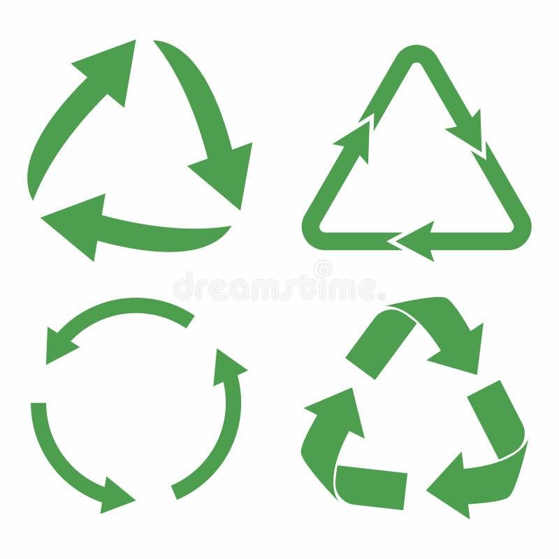 przetwarza ikoną zestaw Zielone eco cyklu strzała Przetwarza symbol w ekologii ilustracja wektor