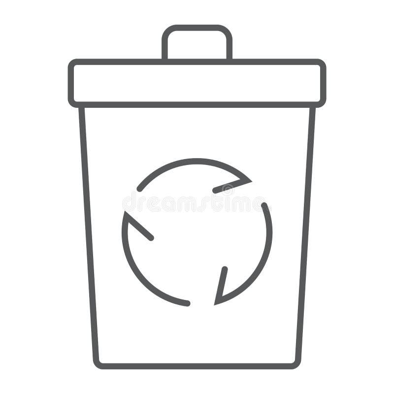 Przetwarza kosz cienką kreskową ikonę, ekologia royalty ilustracja