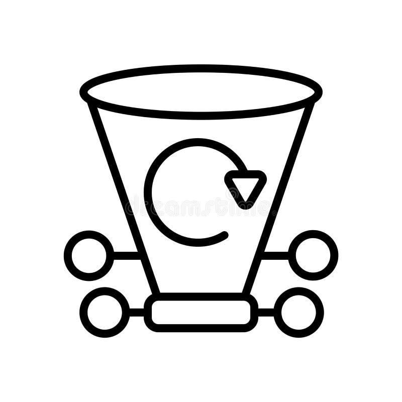 Przetwarza kosz ikony wektor odizolowywającego na białym tle, Przetwarza, kosza znaka, kreskowego lub liniowego znaka, elementu p ilustracja wektor