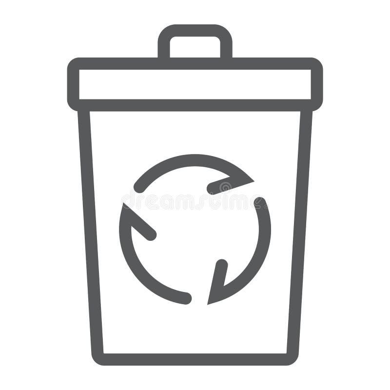 Przetwarza kosz kreskową ikonę, ekologię i energię, ilustracja wektor