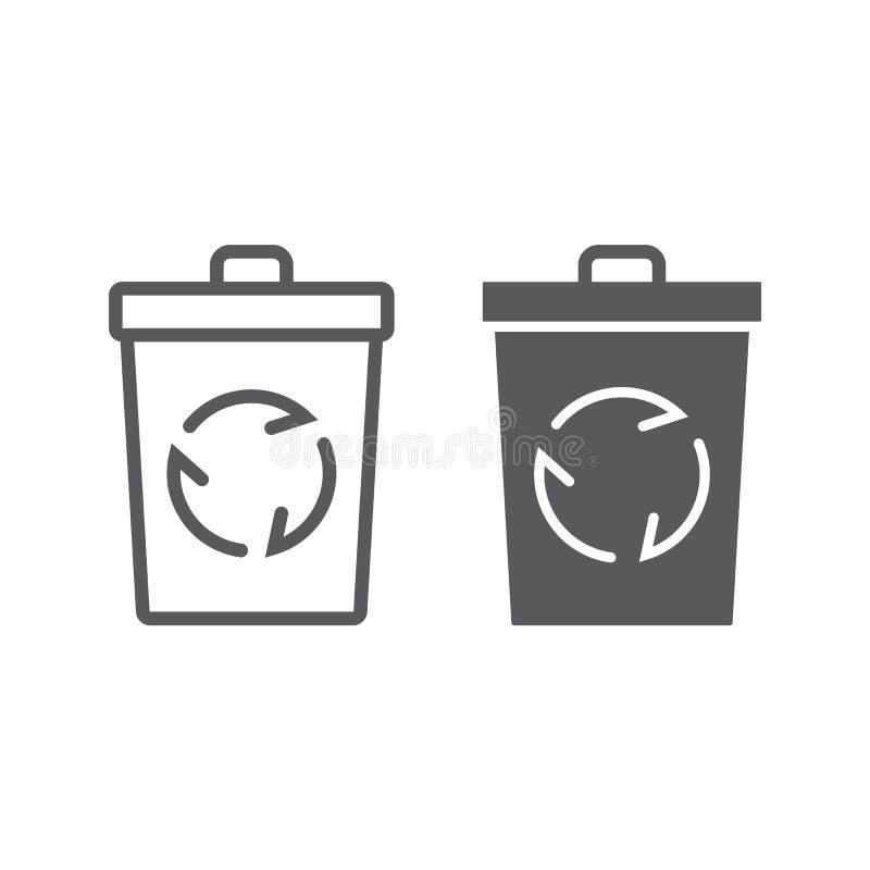 Przetwarza kosz linię i glif ikonę, ekologia royalty ilustracja