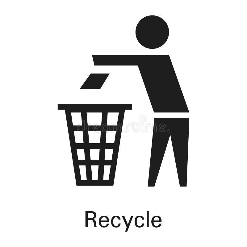 Przetwarza kosz na śmieci ikonę, prosty styl ilustracji
