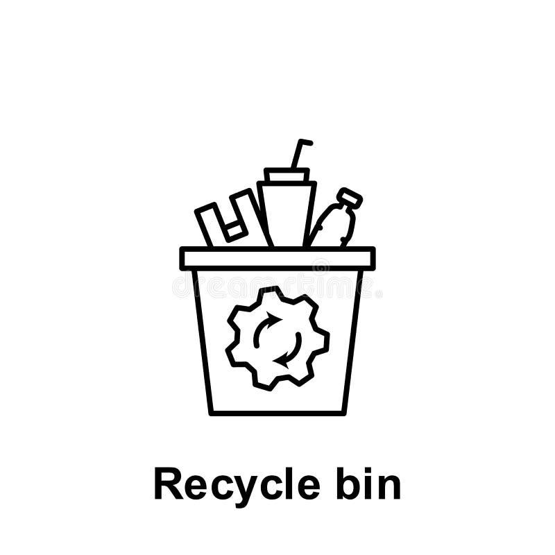 Przetwarza kosz, plastikowa ikona Element zanieczyszczenie problem?w ikona Cienka kreskowa ikona dla strona internetowa projekta  royalty ilustracja