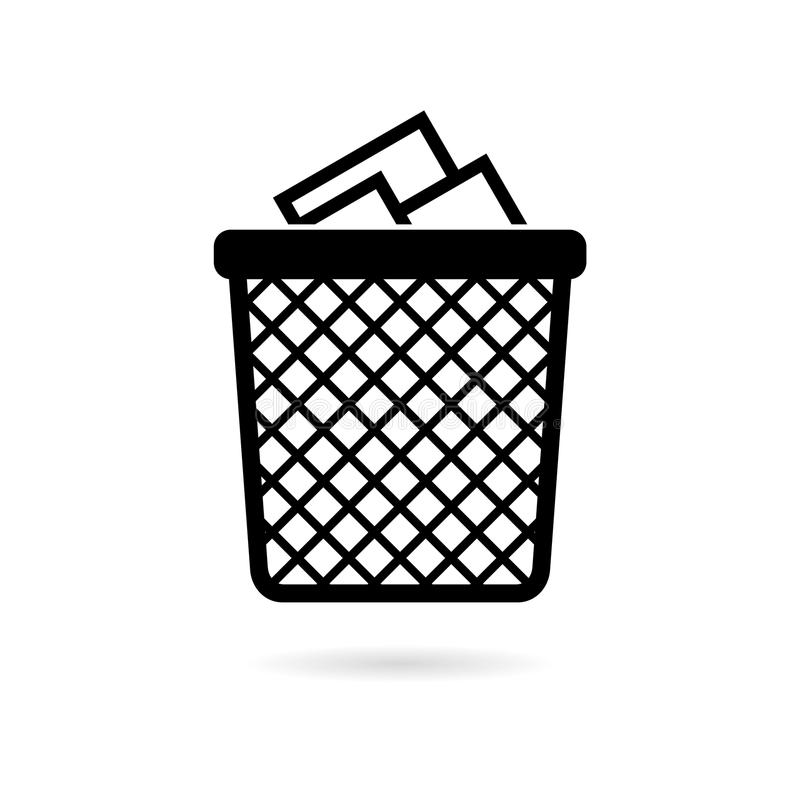 Przetwarza kosza śmieci i grata ikonę royalty ilustracja