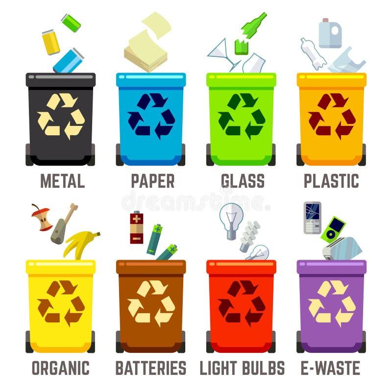 Przetwarza kosze z różnymi typ odpady ilustracja wektor