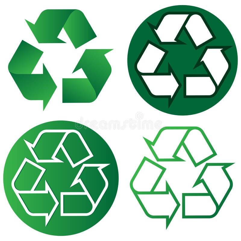 Przetwarza loga, iść zieleń, eco życzliwy ilustracja wektor
