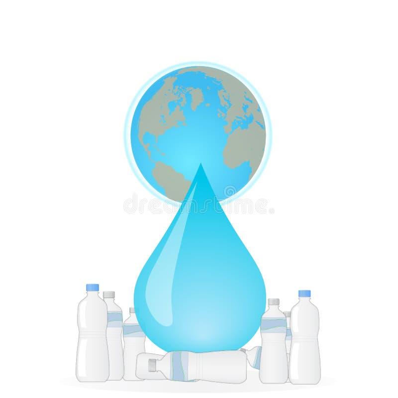 Przetwarza plastikowe butelki save planeta ucho royalty ilustracja