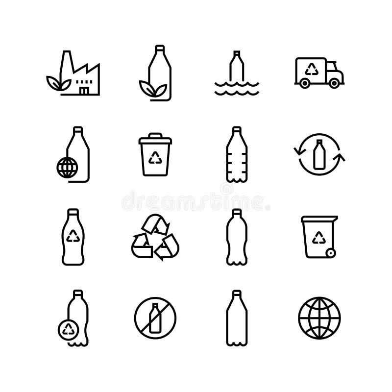 Przetwarza Plastikowego butelki Eco ikony set ilustracja wektor