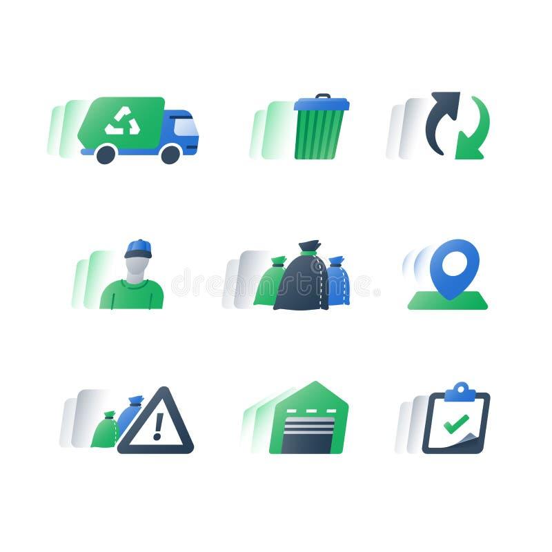 Przetwarza program, zbiera, śmieciarska usunięcie zieleni ciężarówka, banialuki, jałowego kosz i ściółek torby, usypu pojazd, kub royalty ilustracja