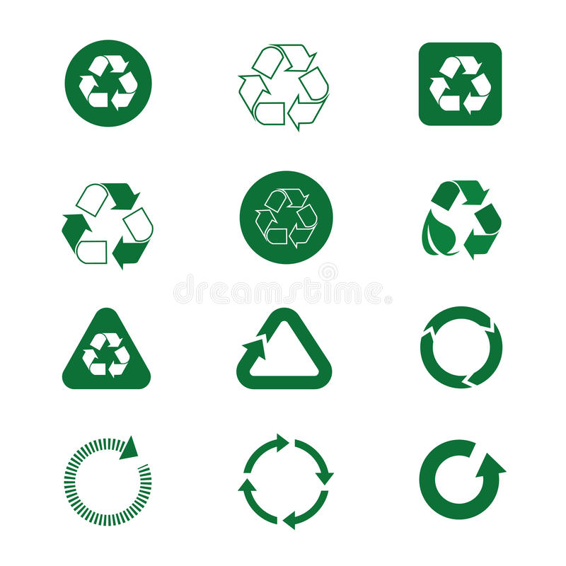 Przetwarza symbol strzała Zielonego loga sieci ikony Ustaloną kolekcję ilustracji