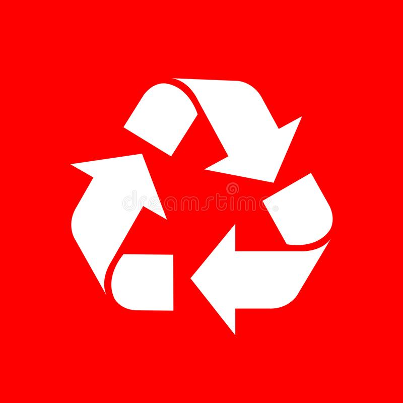 Przetwarza symbolu biel odizolowywającego na czerwonym tle, biała ekologii ikona na czerwieni, biały strzałkowaty kształt dla prz ilustracja wektor