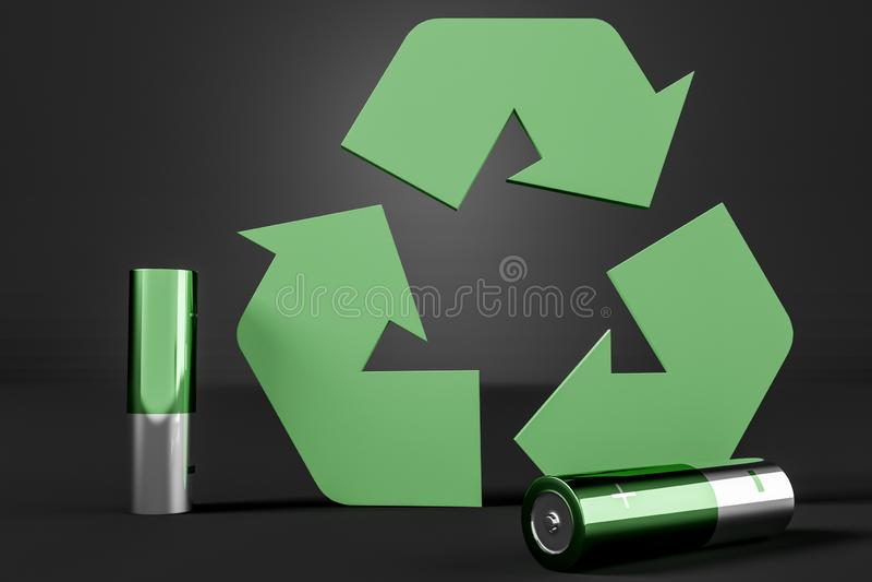 Przetwarza szyldowe i zielone baterie ilustracja wektor