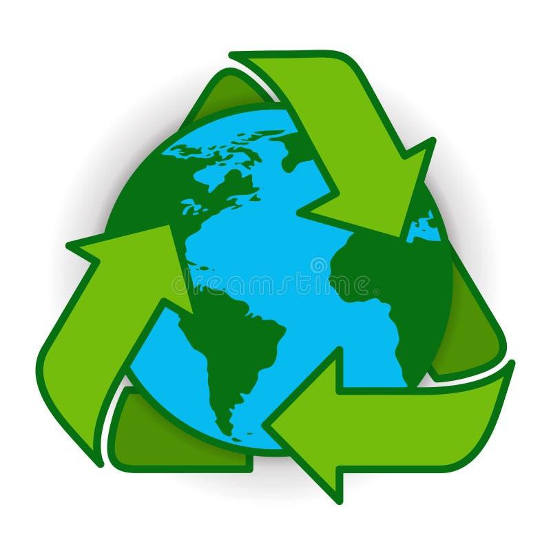 Przetwarza Ziemską kula ziemska symbolu zieleni loga sieci ikonę royalty ilustracja