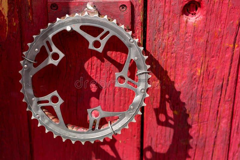 Przetwarzająca bicykl korba jako drzwiowa rękojeść obraz stock