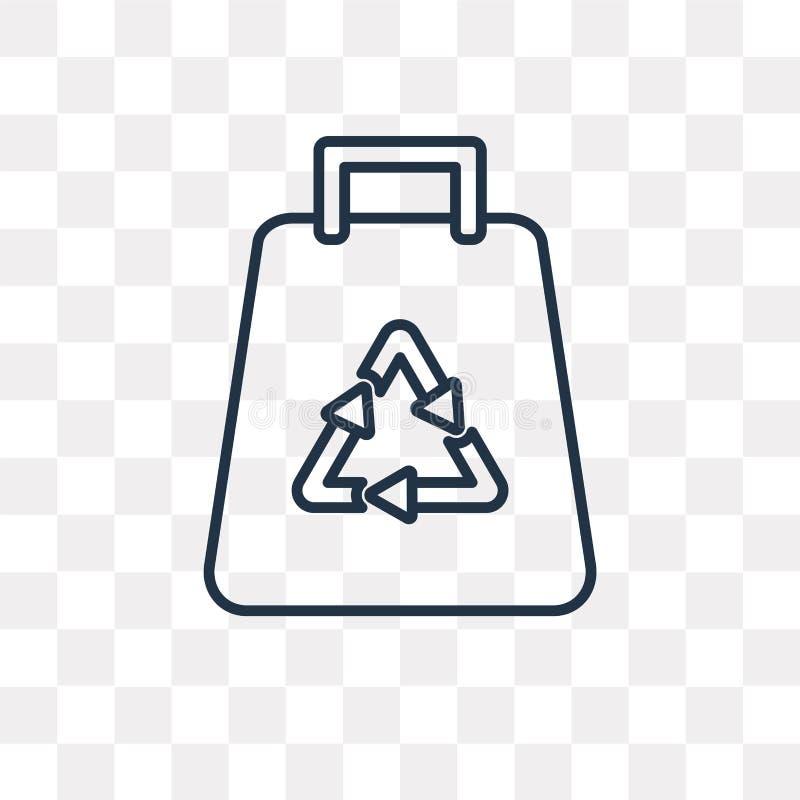 Przetwarzająca torby wektorowa ikona odizolowywająca na przejrzystym tle, Lin royalty ilustracja